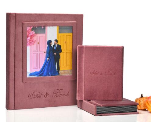 30 Fotoğraflık 30×50 Cm. Ebat Kadife Düğün Nişan Fotoğraf Albümü